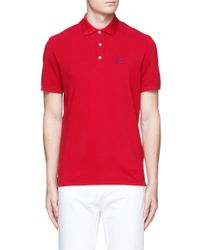 Isaia Red Logo Embroidery Cotton Piqué Polo Shirt for men