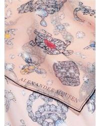 Alexander McQueen - Multicolor Jewelled Skull Animal Silk Chiffon Scarf - Lyst