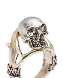 Alexander McQueen - Metallic Hand And Skull Ring - Lyst