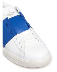 Valentino - Pink Colourblock Leather Stud Sneakers for Men - Lyst