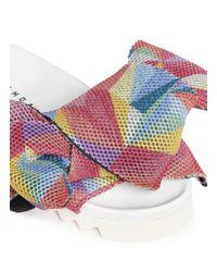 Joshua Sanders - Multicolor Twist Bow Mesh Slides - Lyst