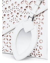 Alaïa - White Patchwork Lasercut Leather Envelope Clutch - Lyst