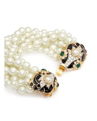 Kenneth Jay Lane - Metallic Enamelled Floral Charm Tiered Glass Pearl Bracelet - Lyst