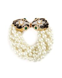 Kenneth Jay Lane | Metallic Enamelled Floral Charm Tiered Glass Pearl Bracelet | Lyst