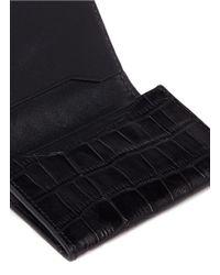 Alexander Wang Black Croc Embossed Leather Flap Card Holder