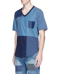 FDMTL Blue Boro Patchwork T-shirt for men