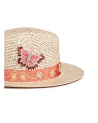 My Bob Multicolor 'fedora Hippie' Butterfly Floral Embellished Straw Hat