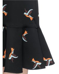 Victoria, Victoria Beckham Black Hummingbird Print Flounce Hem Sleeveless Dress