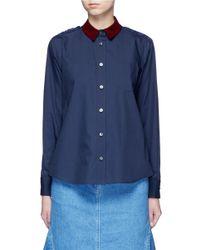 Sacai Blue Guipure Lace Back Velvet Collar Shirt