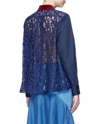 Sacai - Blue Guipure Lace Back Velvet Collar Shirt - Lyst