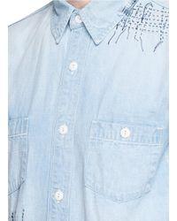 FDMTL - Blue Boro Patchwork Sashiko Stitch Denim Shirt for Men - Lyst