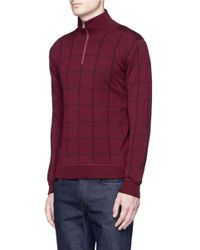 Isaia Red Windowpane Check Mock Neck Sweater for men
