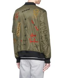 Haculla - Green 'bombs Over Brooklyn' Reversible Slogan Embroidered Bomber Jacket for Men - Lyst
