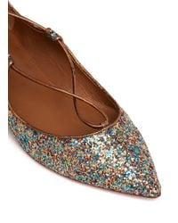 Aquazzura Multicolor 'christy' Metallic Glitter Lace-up Flats