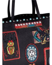 Valentino Blue 'guitar Rolling Rockstud' Medium Beaded Patch Leather Tote