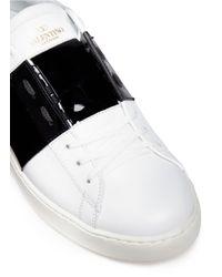 Valentino White 'rockstud' Colourblock Patent Leather Sneakers for men