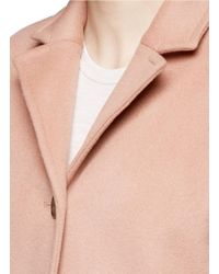 T By Alexander Wang - Pink Felted Wool Long Car Coat - Lyst