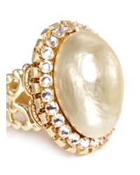 Miriam Haskell - Natural Baroque Glass Pearl Crystal Oval Filigree Ring - Lyst