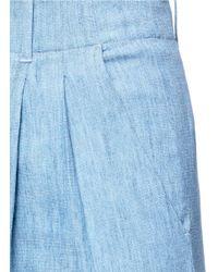 Alice + Olivia Blue Eloise' Chambray Wide Leg Pants