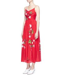 Helen Lee - Red Flying Bunny And Floral Print Silk Dress - Lyst