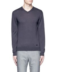 Armani - Gray V-neck Wool Sweater for Men - Lyst