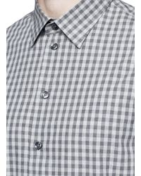 Armani - Gray Gingham Check Cotton Shirt for Men - Lyst