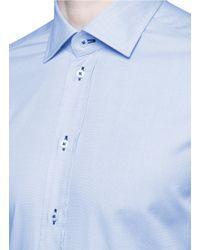 Armani - Blue Contrast Dobby Stripe Cotton Shirt for Men - Lyst
