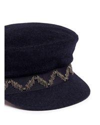 My Bob Blue 'steward' Beaded Stripe Band Felt Schoolboy Cap