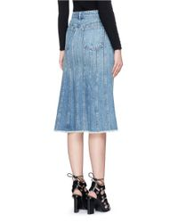 T By Alexander Wang - Blue Seamed A-line Denim Skirt - Lyst