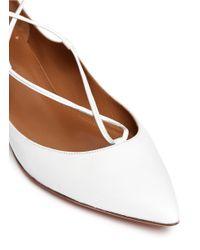 Aquazzura White Christy Lace-up Pointed-toe Flat