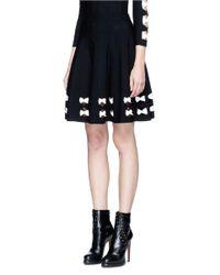 Alexander McQueen Black Twisted Cutout Hem Knit Skirt