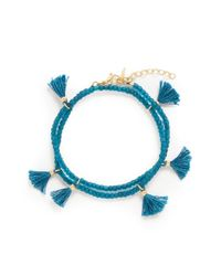 Shashi - Green 'laila' Tassel Beaded Double Wrap Bracelet - Lyst