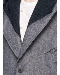 Ziggy Chen - Gray Drop Shoulder Hooded Coat for Men - Lyst