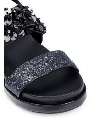 Ash - Black 'sharon' Floral Sequin And Glitter Leather Sandals - Lyst
