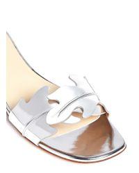 Francesco Russo Metallic Leaf Cutout Mirror Leather Sandals