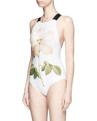 Chictopia - White Floral Print One-piece Swimsuit - Lyst