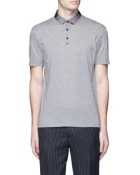 Lanvin | Gray Ribbon Collar Polo Shirt for Men | Lyst