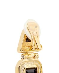 Kenneth Jay Lane | Black Glass Stone Gold Plated Hinged Drop Earrings | Lyst