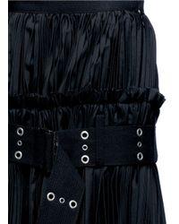 Sacai Black Belted Plissé Pleat Skirt
