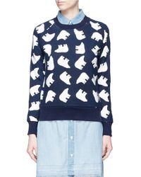 Perfect Moment - Blue 'bear' Print Cotton Sweatshirt - Lyst