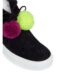 Joshua Sanders - Black Pompom Lace-up Suede Sneaker Boots - Lyst