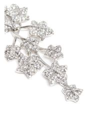 Kenneth Jay Lane - Metallic Glass Crystal Leaf Drop Clip Earrings - Lyst