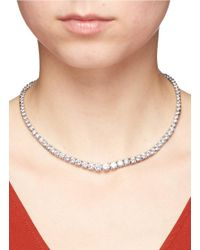CZ by Kenneth Jay Lane - Metallic Round Cut Cubic Zirconia Choker Necklace - Lyst
