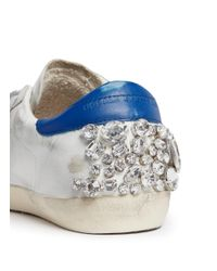 Golden Goose Deluxe Brand White Superstar Strass Embellished Distressed Leather Sneakers