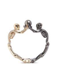 Alexander McQueen | Metallic Swarovski Pearl Double Skeleton Bracelet | Lyst