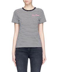 Marc Jacobs Black Leopard Print Stripe Jersey T-shirt
