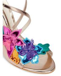 Sophia Webster - Multicolor 'hula' Flower Embellished Mirror Leather Sandals - Lyst