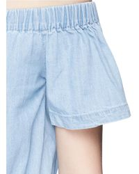 3x1 - Blue 'clark' Chambray Off-shoulder Rompers - Lyst
