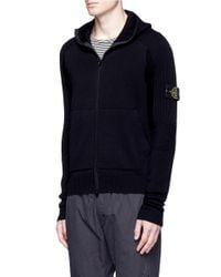 Stone Island - Black Logo Patch Hooded Wool Jacket for Men - Lyst