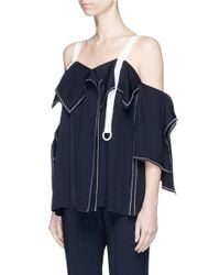 Comme Moi Blue Petersham Strap Asymmetric Ruffle Cold Shoulder Top
